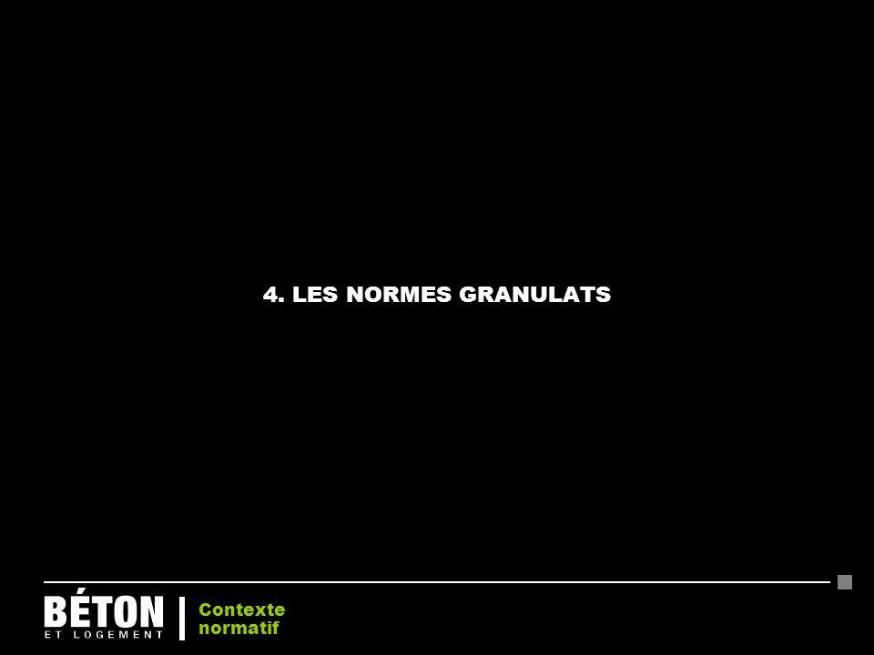 4. LES NORMES GRANULATS Contexte normatif