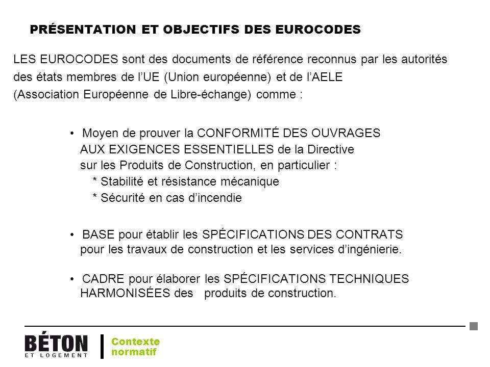 PRÉSENTATION ET OBJECTIFS DES EUROCODES LES EUROCODES sont des documents de référence reconnus par les autorités des états membres de lUE (Union europ
