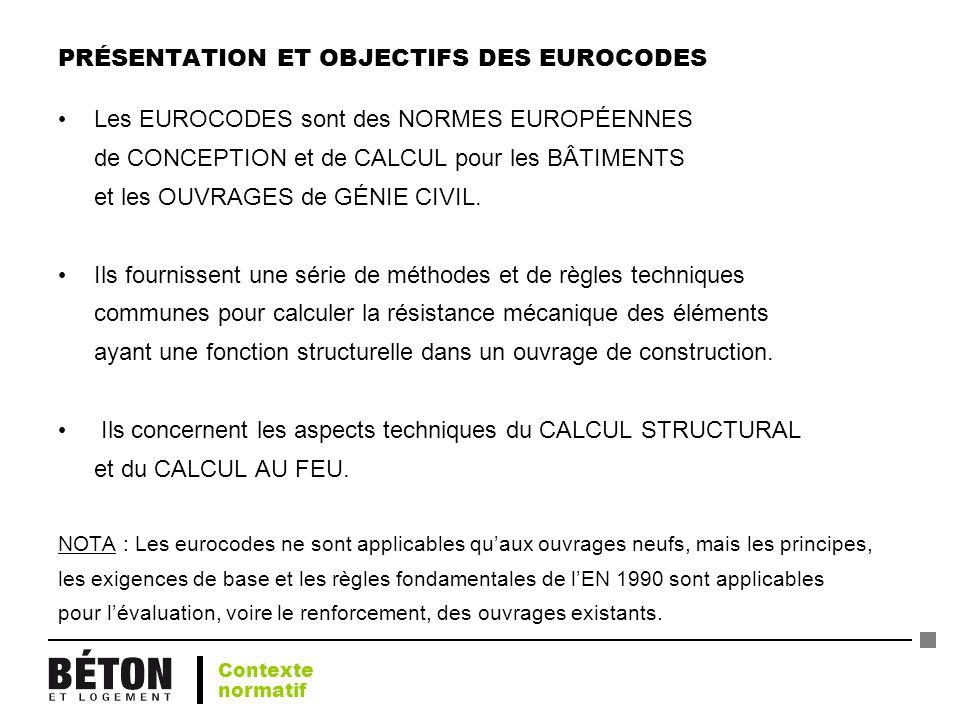 PRÉSENTATION ET OBJECTIFS DES EUROCODES Les EUROCODES sont des NORMES EUROPÉENNES de CONCEPTION et de CALCUL pour les BÂTIMENTS et les OUVRAGES de GÉN