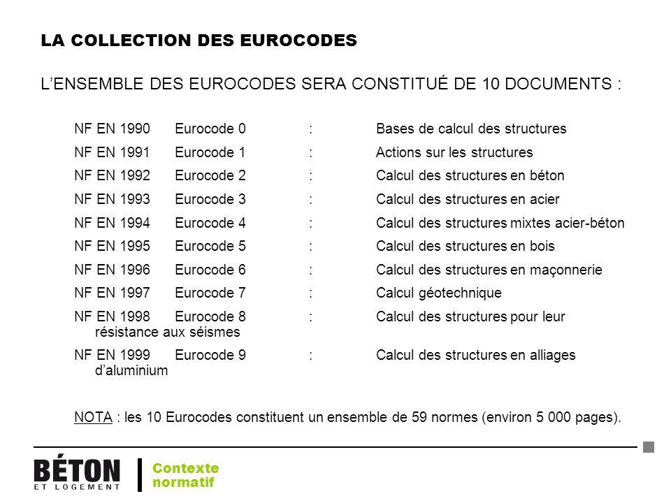 LA COLLECTION DES EUROCODES LENSEMBLE DES EUROCODES SERA CONSTITUÉ DE 10 DOCUMENTS : NF EN 1990 Eurocode 0 : Bases de calcul des structures NF EN 1991