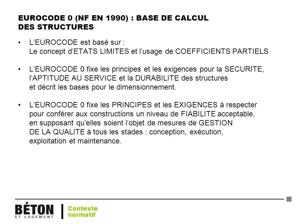 EUROCODE 0 (NF EN 1990) : BASE DE CALCUL DES STRUCTURES LEUROCODE est basé sur : Le concept dETATS LIMITES et lusage de COEFFICIENTS PARTIELS LEUROCOD