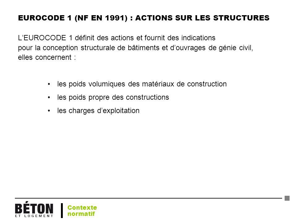 EUROCODE 1 (NF EN 1991) : ACTIONS SUR LES STRUCTURES LEUROCODE 1 définit des actions et fournit des indications pour la conception structurale de bâti