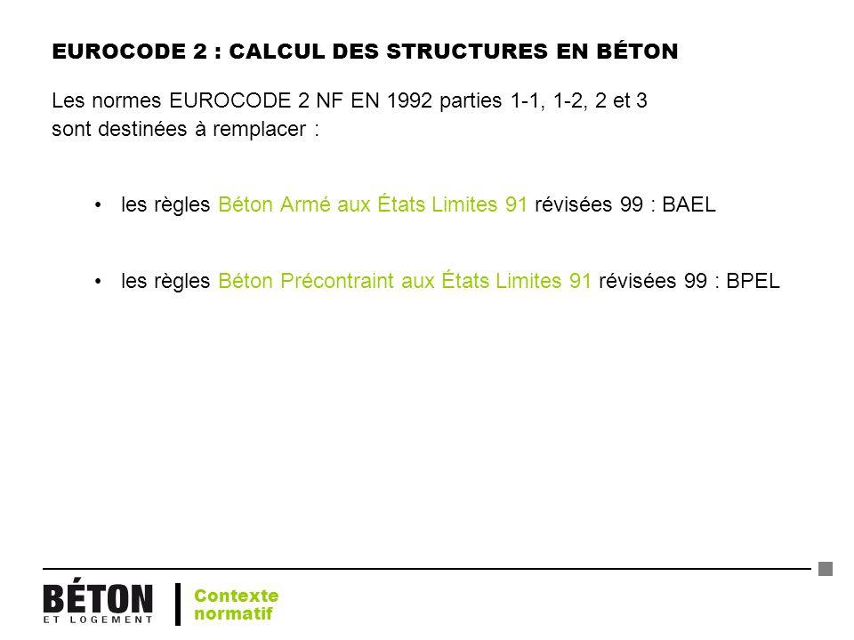 EUROCODE 2 : CALCUL DES STRUCTURES EN BÉTON Les normes EUROCODE 2 NF EN 1992 parties 1-1, 1-2, 2 et 3 sont destinées à remplacer : les règles Béton Ar