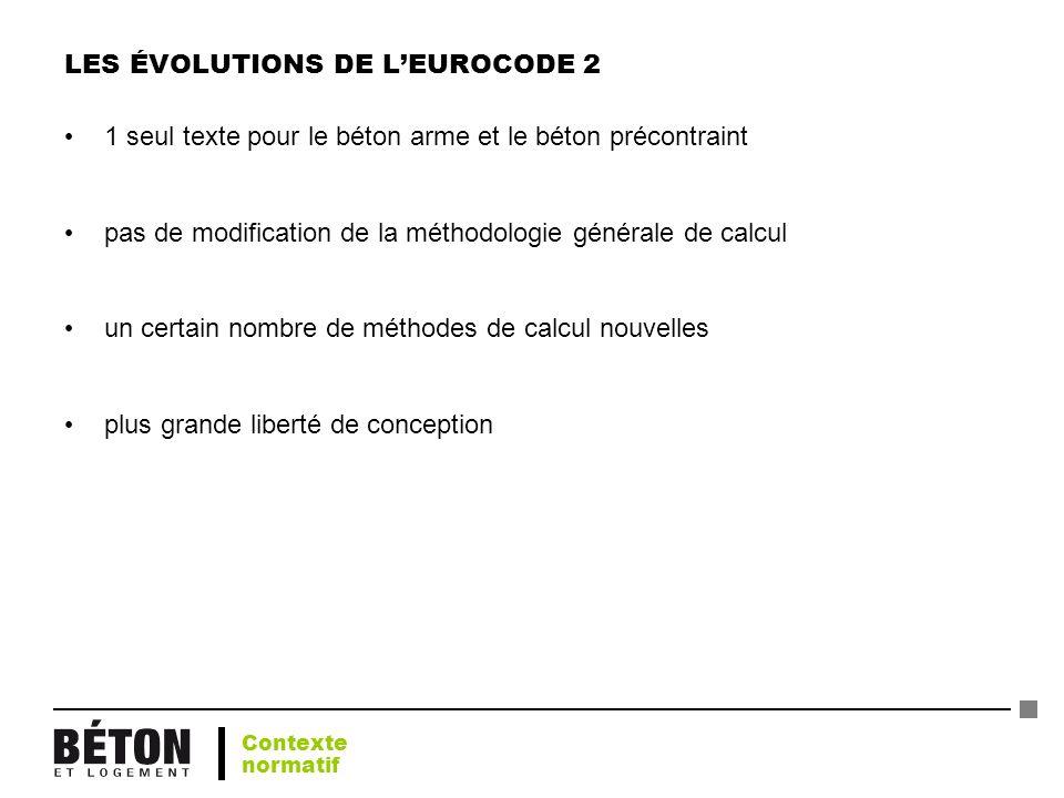 LES ÉVOLUTIONS DE LEUROCODE 2 1 seul texte pour le béton arme et le béton précontraint pas de modification de la méthodologie générale de calcul un ce