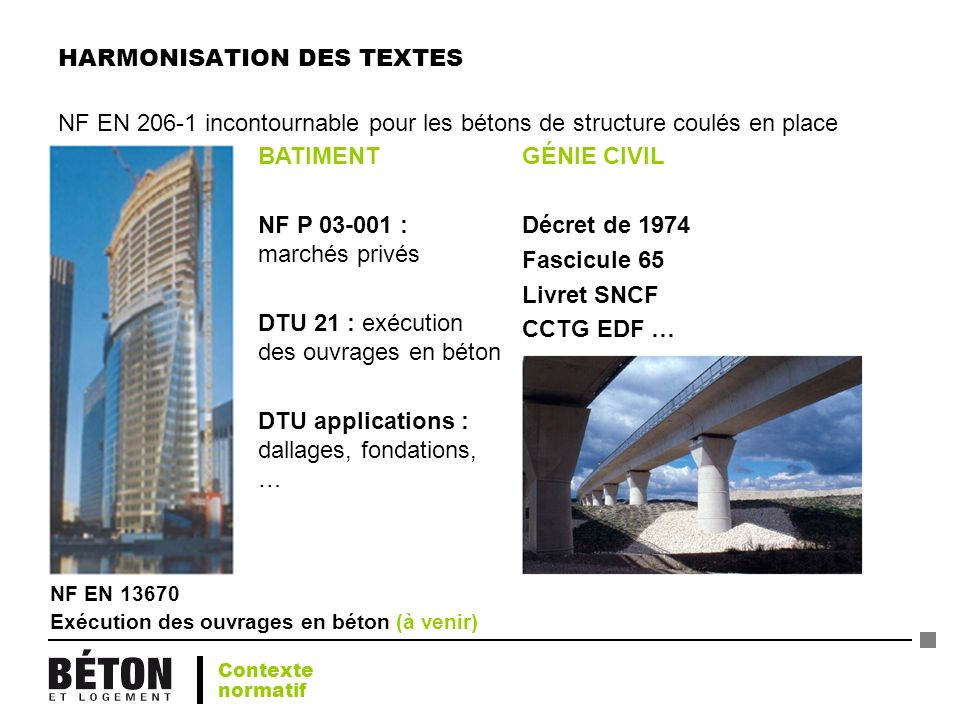 GÉNIE CIVIL Décret de 1974 Fascicule 65 Livret SNCF CCTG EDF … BATIMENT NF P 03-001 : marchés privés DTU 21 : exécution des ouvrages en béton DTU appl