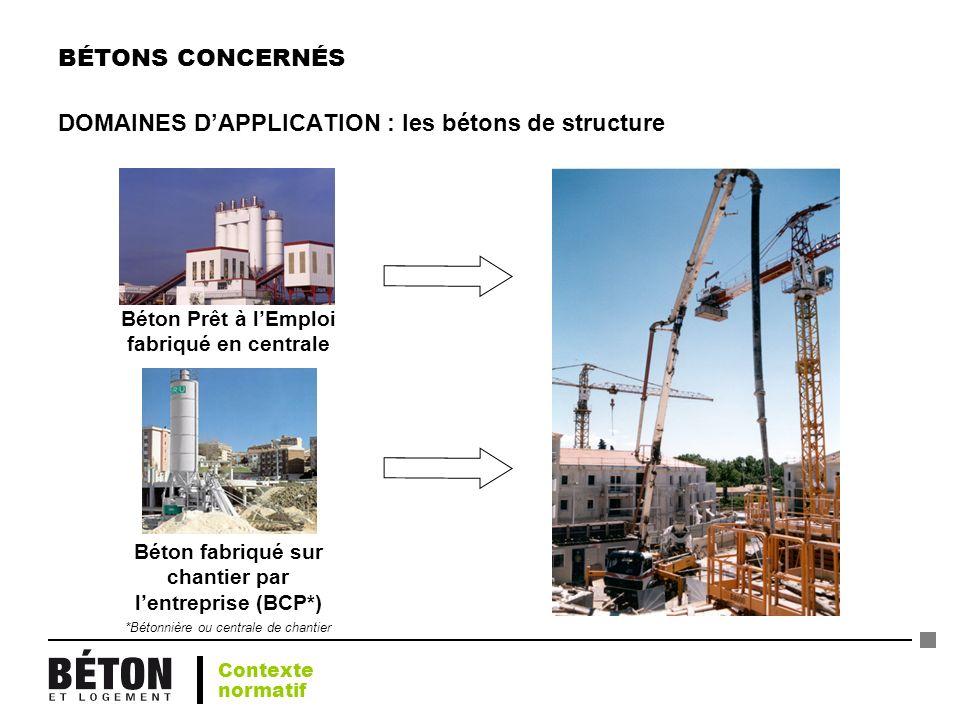 BÉTONS CONCERNÉS DOMAINES DAPPLICATION : les bétons de structure Béton Prêt à lEmploi fabriqué en centrale Béton fabriqué sur chantier par lentreprise