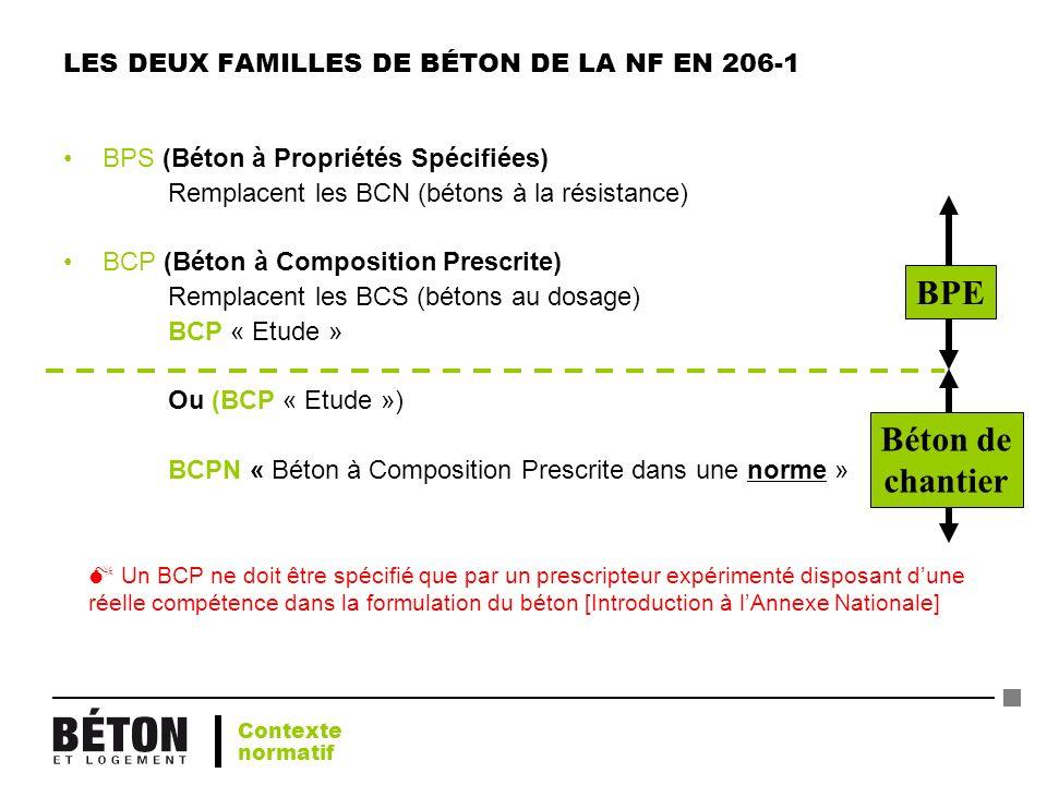 LES DEUX FAMILLES DE BÉTON DE LA NF EN 206-1 BPS (Béton à Propriétés Spécifiées) Remplacent les BCN (bétons à la résistance) BCP (Béton à Composition
