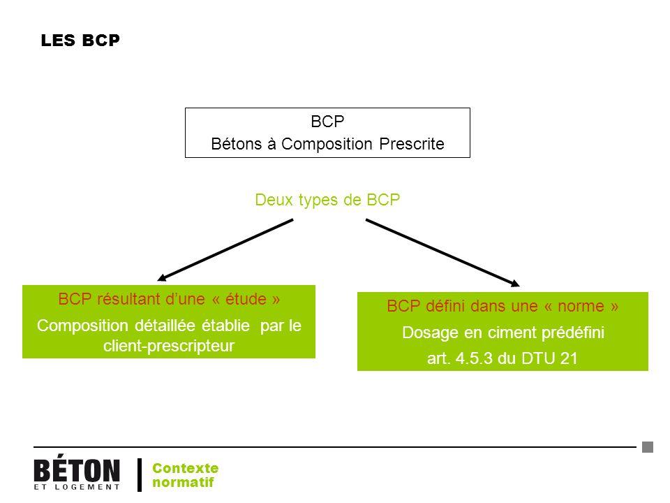 LES BCP BCP Bétons à Composition Prescrite Deux types de BCP BCP résultant dune « étude » Composition détaillée établie par le client-prescripteur BCP