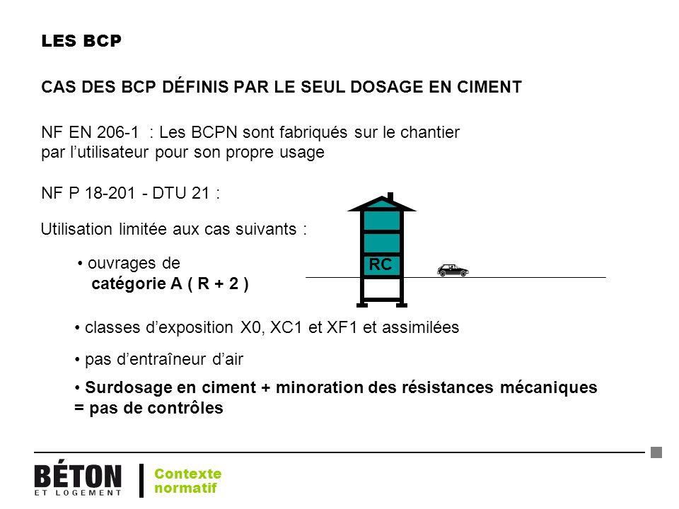 LES BCP CAS DES BCP DÉFINIS PAR LE SEUL DOSAGE EN CIMENT NF EN 206-1 : Les BCPN sont fabriqués sur le chantier par lutilisateur pour son propre usage