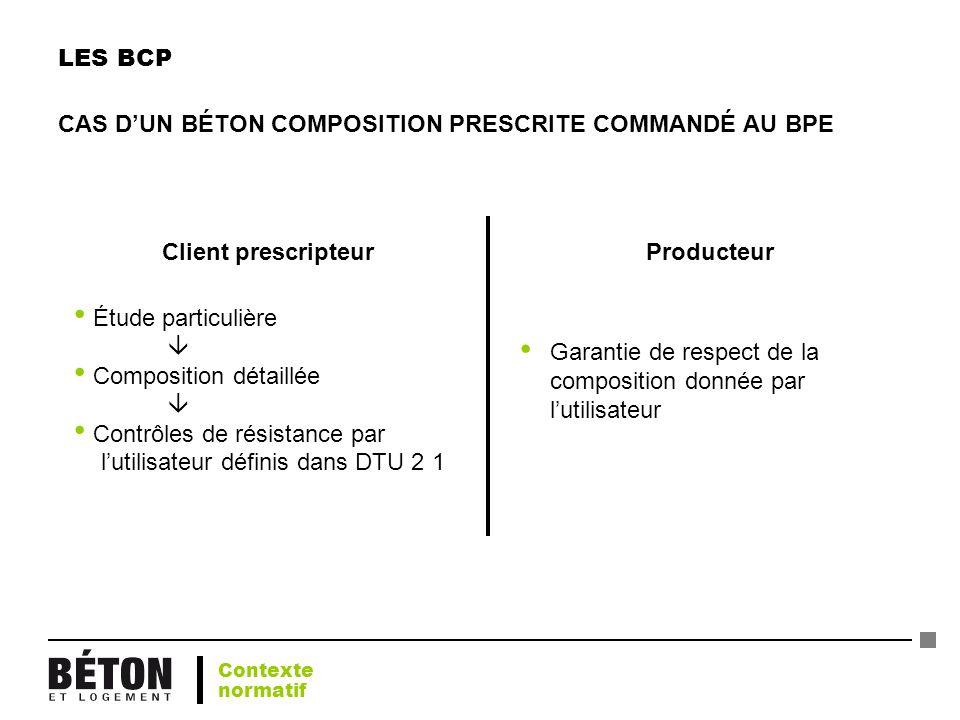 LES BCP CAS DUN BÉTON COMPOSITION PRESCRITE COMMANDÉ AU BPE Étude particulière Composition détaillée Contrôles de résistance par lutilisateur définis