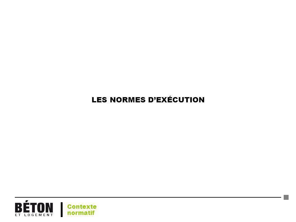 LES NORMES DEXÉCUTION Contexte normatif