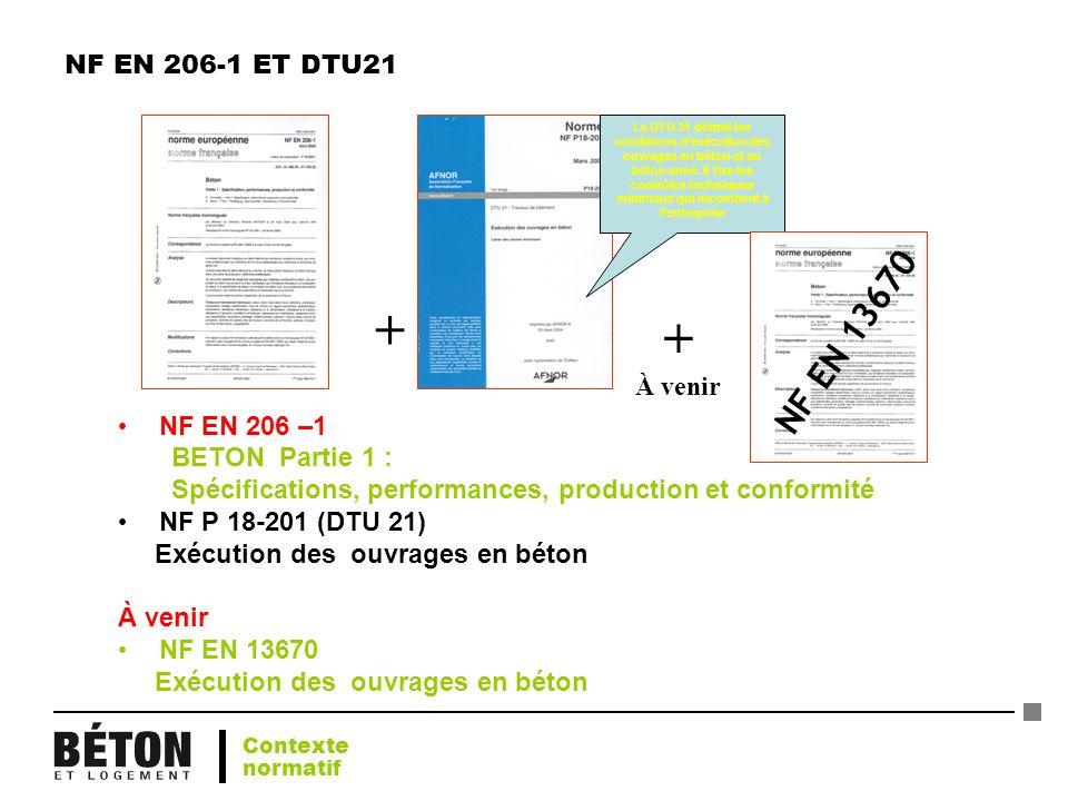 NF EN 206-1 ET DTU21 NF EN 206 –1 BETON Partie 1 : Spécifications, performances, production et conformité NF P 18-201 (DTU 21) Exécution des ouvrages