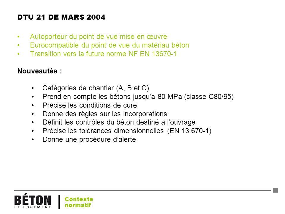 DTU 21 DE MARS 2004 Autoporteur du point de vue mise en œuvre Eurocompatible du point de vue du matériau béton Transition vers la future norme NF EN 1