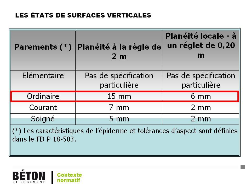LES ÉTATS DE SURFACES VERTICALES Contexte normatif