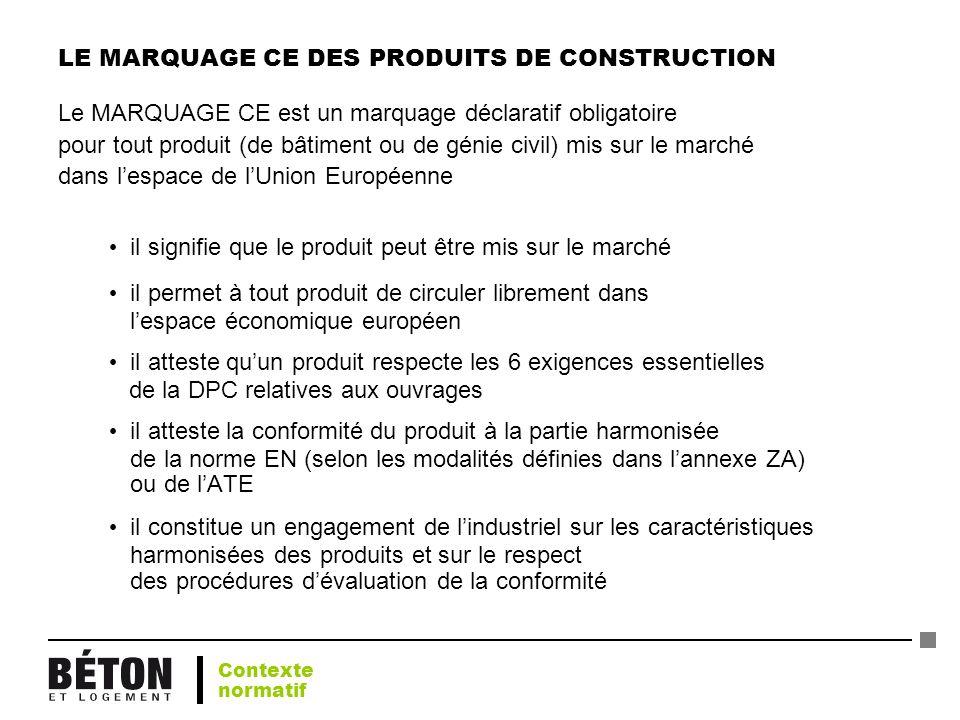 LE MARQUAGE CE DES PRODUITS DE CONSTRUCTION Le MARQUAGE CE est un marquage déclaratif obligatoire pour tout produit (de bâtiment ou de génie civil) mi