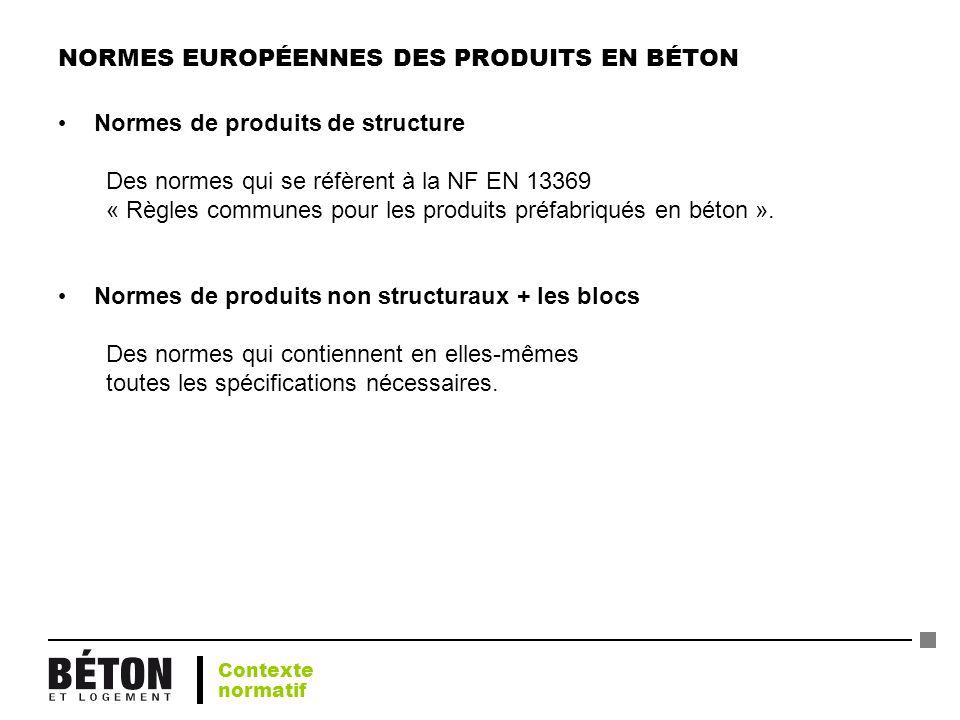 NORMES EUROPÉENNES DES PRODUITS EN BÉTON Normes de produits de structure Des normes qui se réfèrent à la NF EN 13369 « Règles communes pour les produi