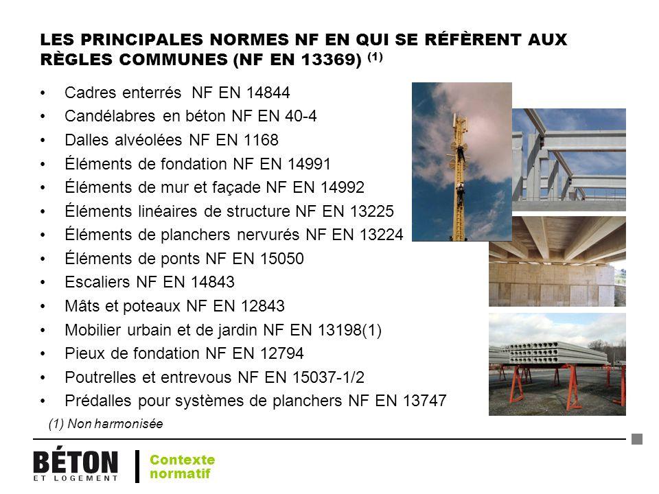 LES PRINCIPALES NORMES NF EN QUI SE RÉFÈRENT AUX RÈGLES COMMUNES (NF EN 13369) (1) Cadres enterrés NF EN 14844 Candélabres en béton NF EN 40-4 Dalles