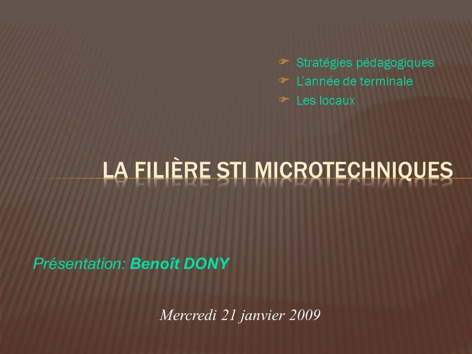 Stratégies pédagogiques Lannée de terminale Les locaux Mercredi 21 janvier 2009 Présentation: Benoît DONY