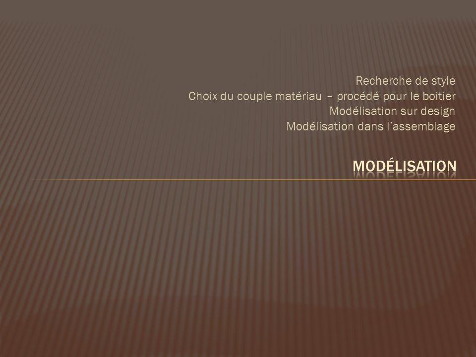 Recherche de style Choix du couple matériau – procédé pour le boitier Modélisation sur design Modélisation dans lassemblage