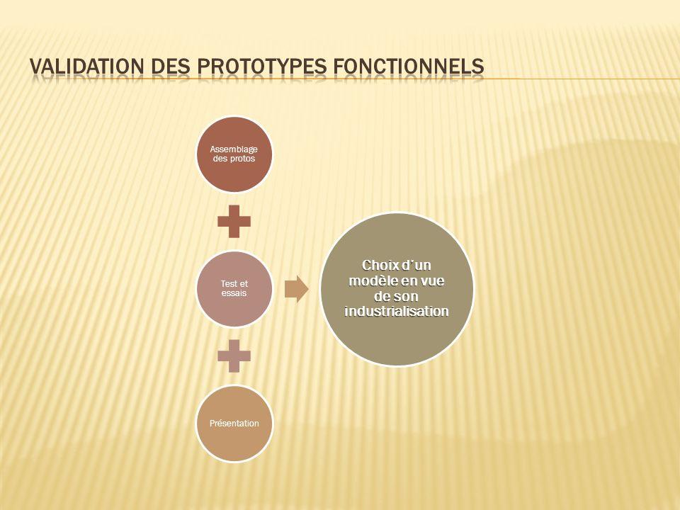 Assemblage des protos Test et essais Présentation Choix dun modèle en vue de son industrialisation