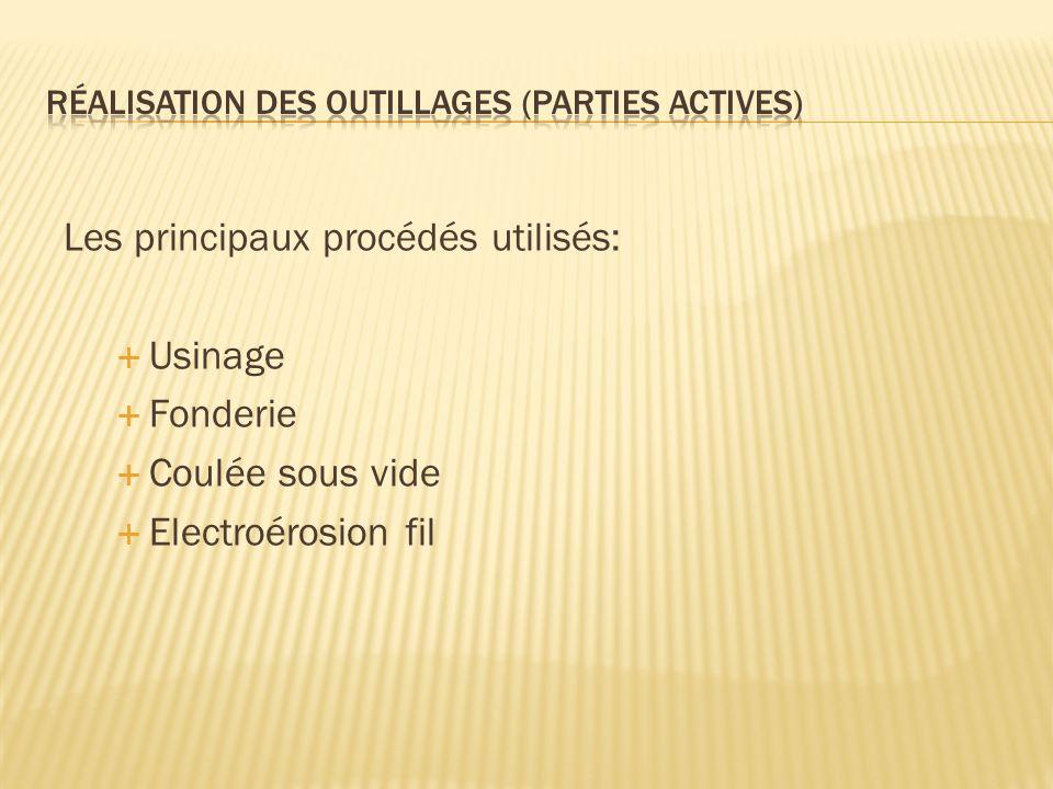 Les principaux procédés utilisés: Usinage Fonderie Coulée sous vide Electroérosion fil