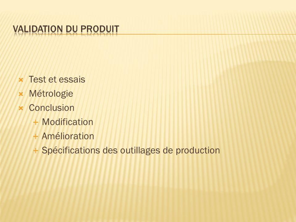 Test et essais Métrologie Conclusion Modification Amélioration Spécifications des outillages de production