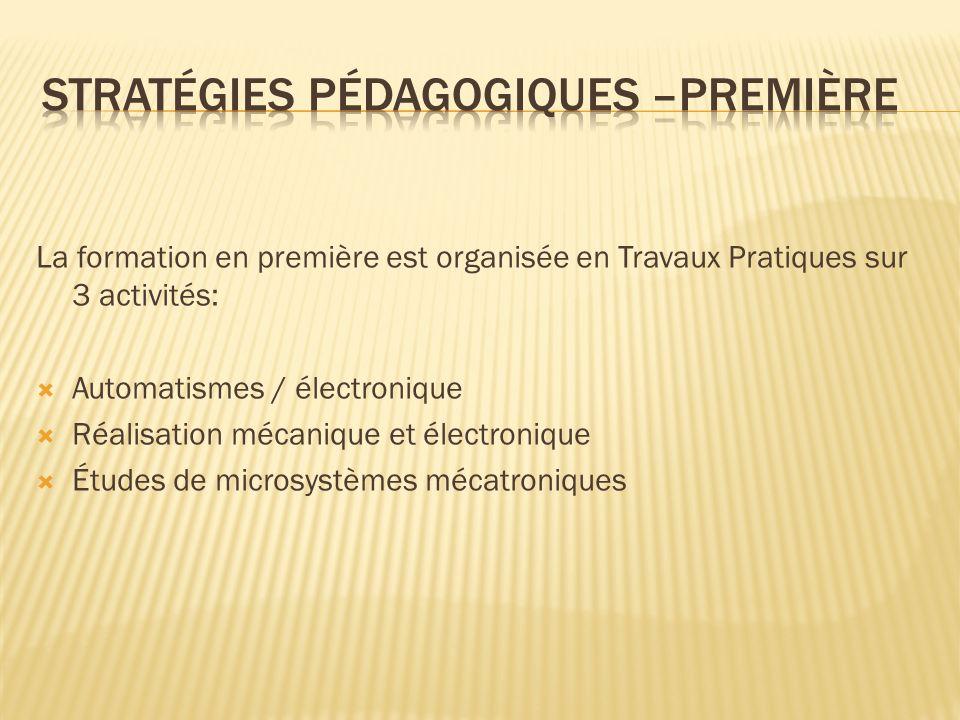 La formation en première est organisée en Travaux Pratiques sur 3 activités: Automatismes / électronique Réalisation mécanique et électronique Études