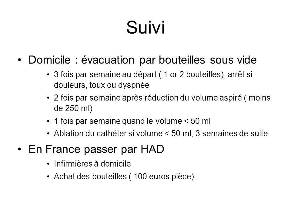 Suivi Domicile : évacuation par bouteilles sous vide 3 fois par semaine au départ ( 1 or 2 bouteilles); arrêt si douleurs, toux ou dyspnée 2 fois par
