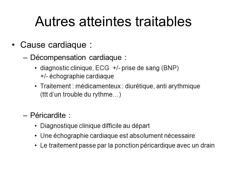 Autres atteintes traitables Cause cardiaque : –Décompensation cardiaque : diagnostic clinique, ECG +/- prise de sang (BNP) +/- échographie cardiaque T