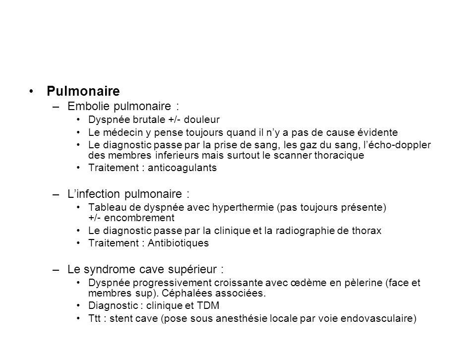 Pulmonaire –Embolie pulmonaire : Dyspnée brutale +/- douleur Le médecin y pense toujours quand il ny a pas de cause évidente Le diagnostic passe par l