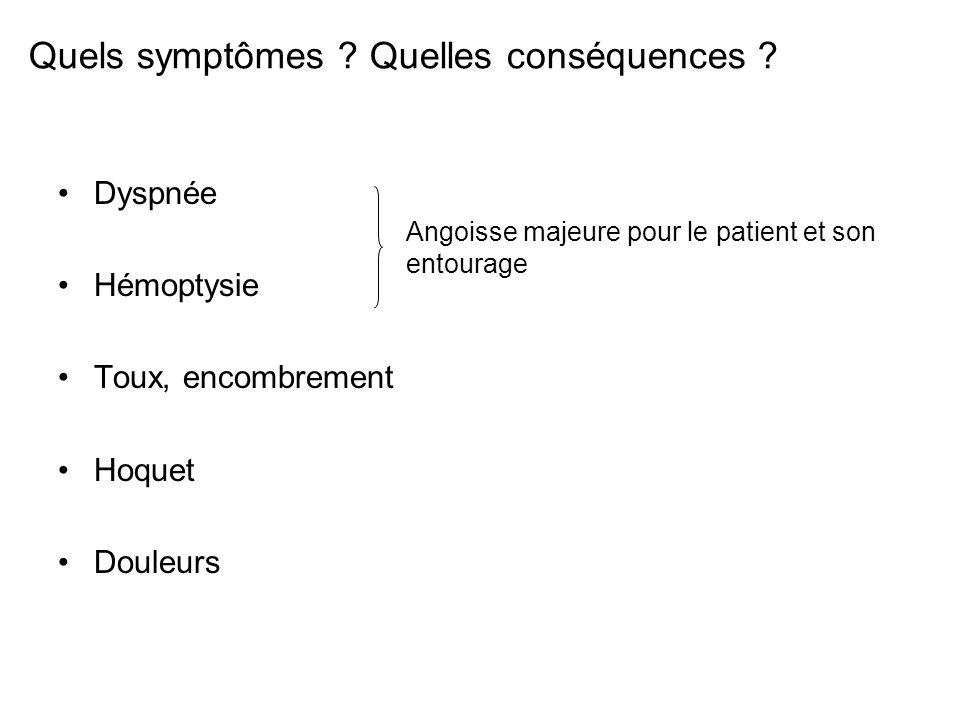 Quels symptômes ? Quelles conséquences ? Dyspnée Hémoptysie Toux, encombrement Hoquet Douleurs Angoisse majeure pour le patient et son entourage