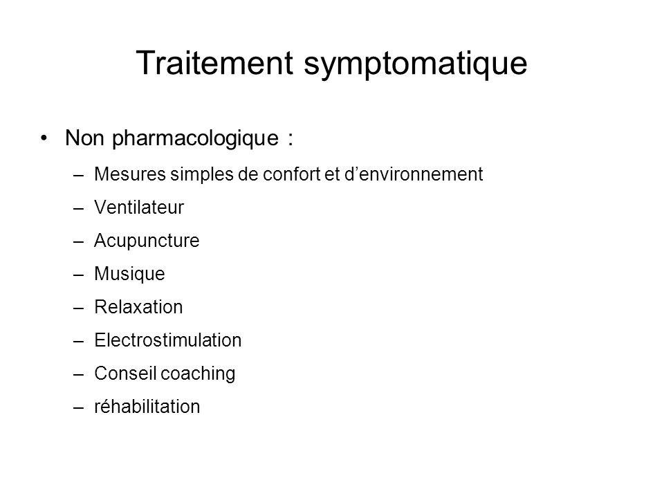 Traitement symptomatique Non pharmacologique : –Mesures simples de confort et denvironnement –Ventilateur –Acupuncture –Musique –Relaxation –Electrost