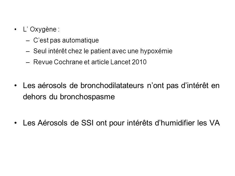 L Oxygène : –Cest pas automatique –Seul intérêt chez le patient avec une hypoxémie –Revue Cochrane et article Lancet 2010 Les aérosols de bronchodilat