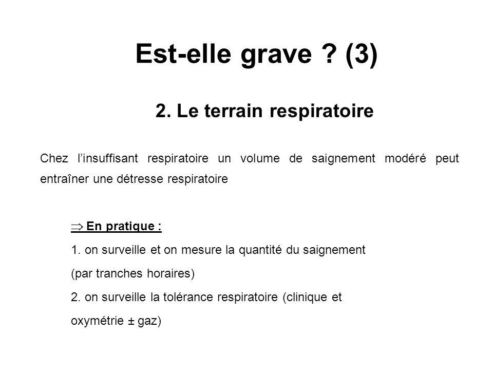 Est-elle grave ? (3) 2. Le terrain respiratoire Chez linsuffisant respiratoire un volume de saignement modéré peut entraîner une détresse respiratoire