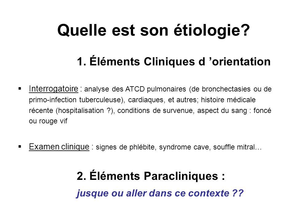 Quelle est son étiologie? 1. Éléments Cliniques d orientation Interrogatoire : analyse des ATCD pulmonaires (de bronchectasies ou de primo-infection t