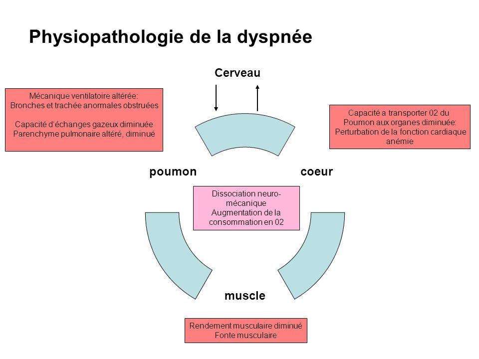 Physiopathologie de la dyspnée Dissociation neuro- mécanique Augmentation de la consommation en 02 Capacité a transporter 02 du Poumon aux organes dim