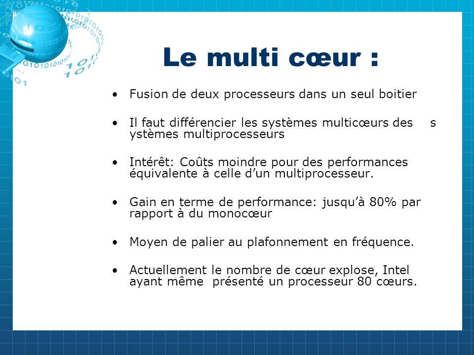 Le multi cœur : Fusion de deux processeurs dans un seul boitier Il faut différencier les systèmes multicœurs des s ystèmes multiprocesseurs Intérêt: Coûts moindre pour des performances équivalente à celle dun multiprocesseur.