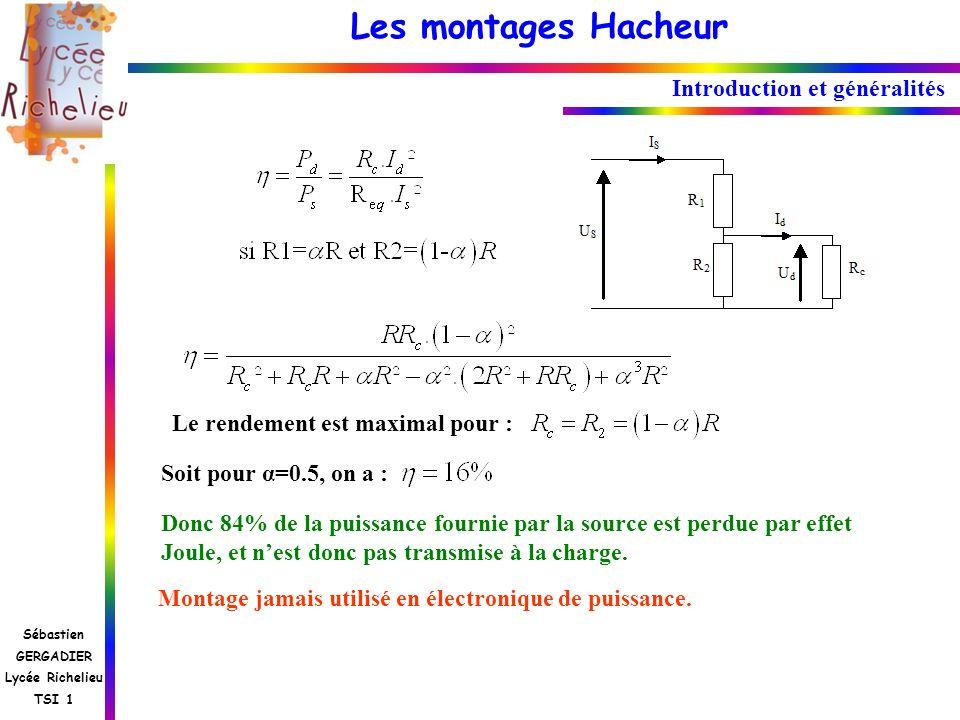 Les montages Hacheur Sébastien GERGADIER Lycée Richelieu TSI 1 Introduction et généralités Le rendement est maximal pour : Soit pour α=0.5, on a : Don