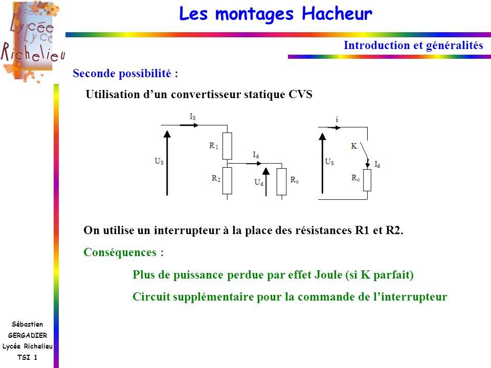 Les montages Hacheur Sébastien GERGADIER Lycée Richelieu TSI 1 Seconde possibilité : Utilisation dun convertisseur statique CVS On utilise un interrup