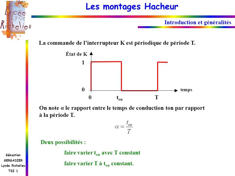 Les montages Hacheur Sébastien GERGADIER Lycée Richelieu TSI 1 La commande de linterrupteur K est périodique de période T. État de K 1010 0 t on T tem