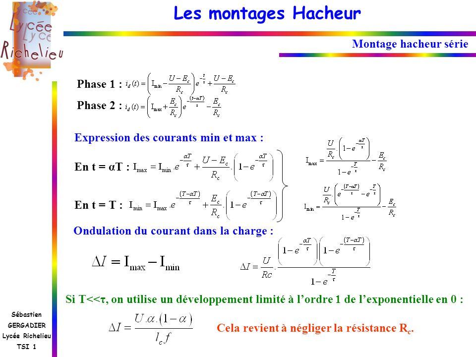 Les montages Hacheur Sébastien GERGADIER Lycée Richelieu TSI 1 Montage hacheur série Phase 1 : Phase 2 : En t = αT : En t = T : Expression des courant