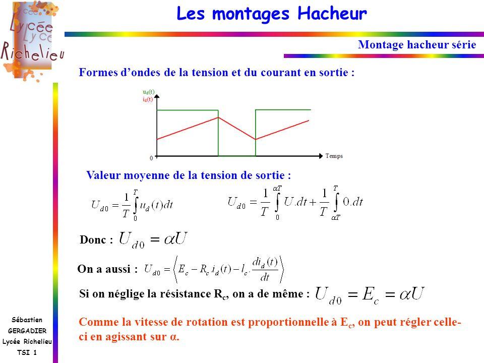 Les montages Hacheur Sébastien GERGADIER Lycée Richelieu TSI 1 Montage hacheur série Formes dondes de la tension et du courant en sortie : Valeur moye