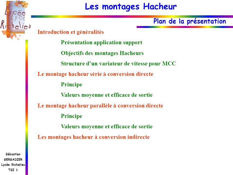 Les montages Hacheur Sébastien GERGADIER Lycée Richelieu TSI 1 Montage hacheur parallèle Schéma de principe dun hacheur parallèle 3 Phases possibles : K est fermé, donc u K = 0 K est ouvert et i l 0, donc u K = u D K est commandé et i l =0, donc u K = U Conduction continue On suppose les interrupteurs parfaits.