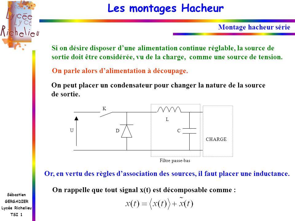 Les montages Hacheur Sébastien GERGADIER Lycée Richelieu TSI 1 U K D CHARGE C Filtre passe-bas Montage hacheur série Si on désire disposer dune alimen