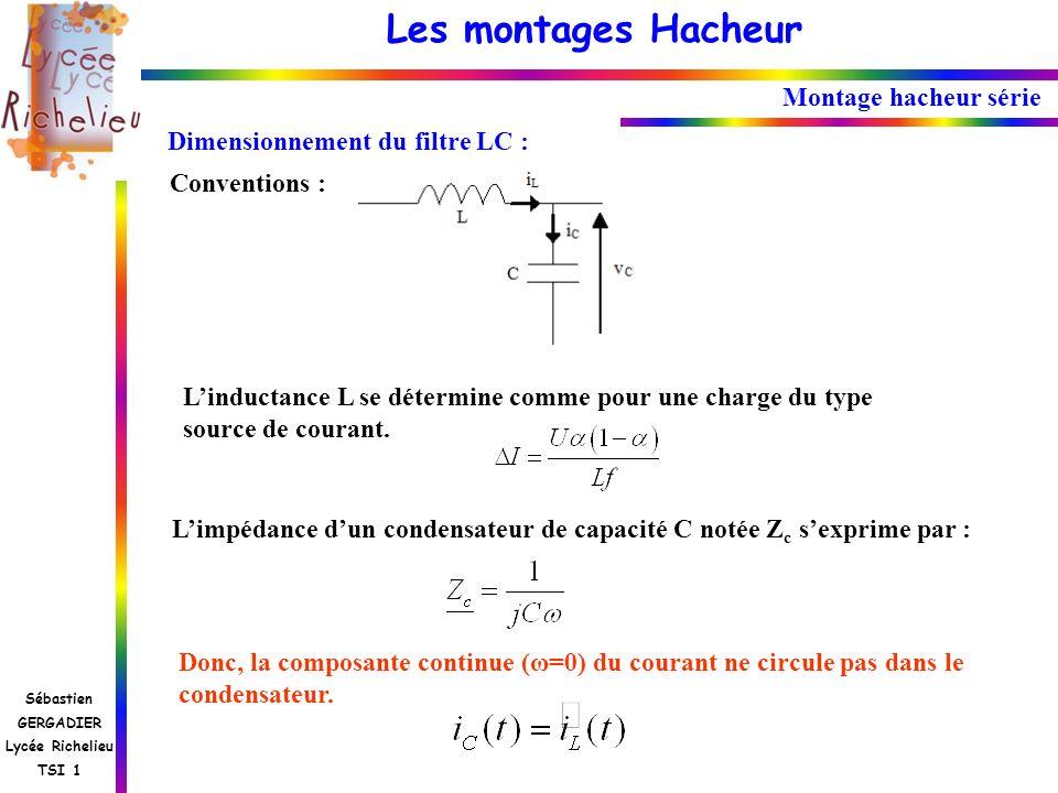 Les montages Hacheur Sébastien GERGADIER Lycée Richelieu TSI 1 Montage hacheur série Dimensionnement du filtre LC : Conventions : Limpédance dun conde