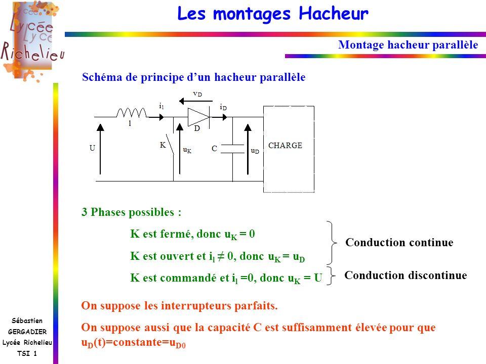 Les montages Hacheur Sébastien GERGADIER Lycée Richelieu TSI 1 Montage hacheur parallèle Schéma de principe dun hacheur parallèle 3 Phases possibles :