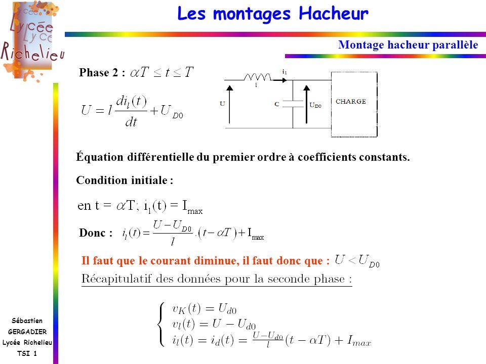 Les montages Hacheur Sébastien GERGADIER Lycée Richelieu TSI 1 Montage hacheur parallèle Phase 2 : Équation différentielle du premier ordre à coeffici