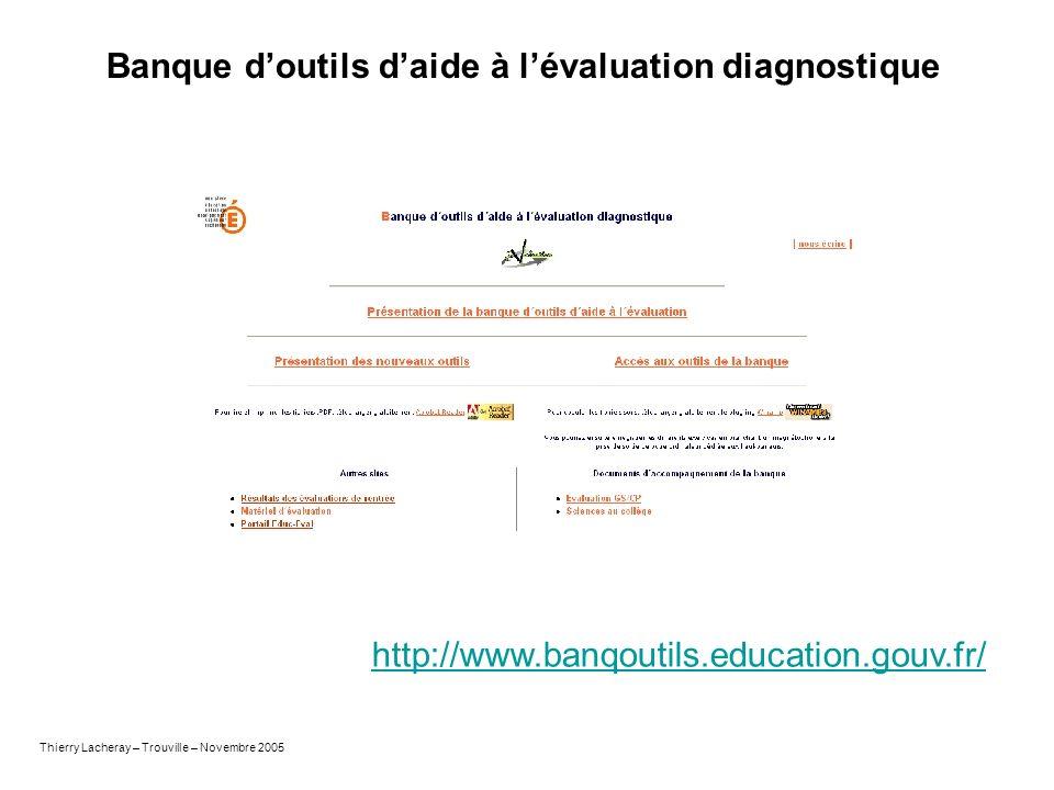 Banque doutils daide à lévaluation diagnostique http://www.banqoutils.education.gouv.fr/ Thierry Lacheray – Trouville – Novembre 2005