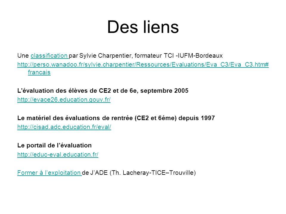 Des liens Une classification par Sylvie Charpentier, formateur TCI -IUFM-Bordeauxclassification http://perso.wanadoo.fr/sylvie.charpentier/Ressources/Evaluations/Eva_C3/Eva_C3.htm# francais L évaluation des élèves de CE2 et de 6e, septembre 2005 http://evace26.education.gouv.fr/ Le matériel des évaluations de rentrée (CE2 et 6éme) depuis 1997 http://cisad.adc.education.fr/eval/ Le portail de lévaluation http://educ-eval.education.fr/ Former à lexploitation Former à lexploitation de JADE (Th.