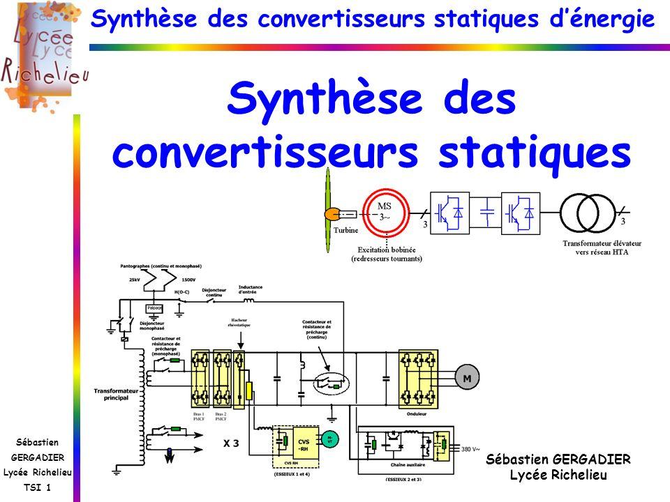 Synthèse des convertisseurs statiques dénergie Sébastien GERGADIER Lycée Richelieu TSI 1 Synthèse des convertisseurs statiques Sébastien GERGADIER Lyc